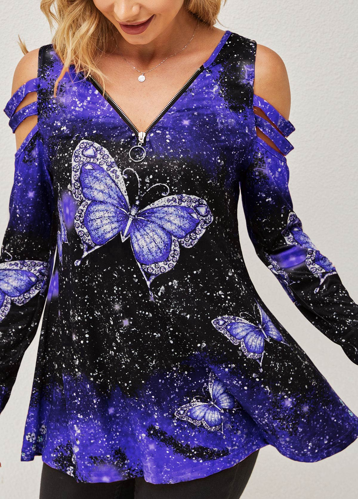 Quarter Zip Purple Butterfly Print Cold Shoulder T Shirt