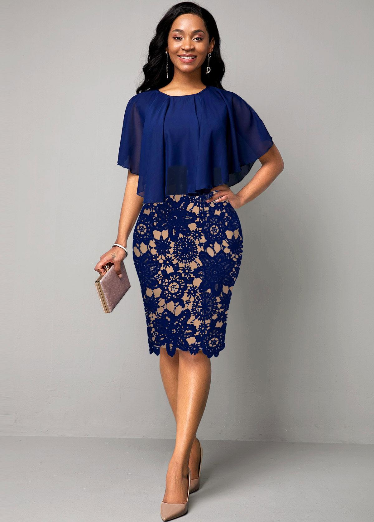 ROTITA Cape Sleeve Lace Panel Navy Blue Dress