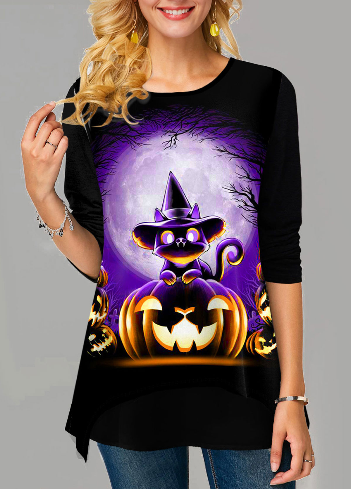 ROTITA Halloween Print Long Sleeve Round Neck T Shirt
