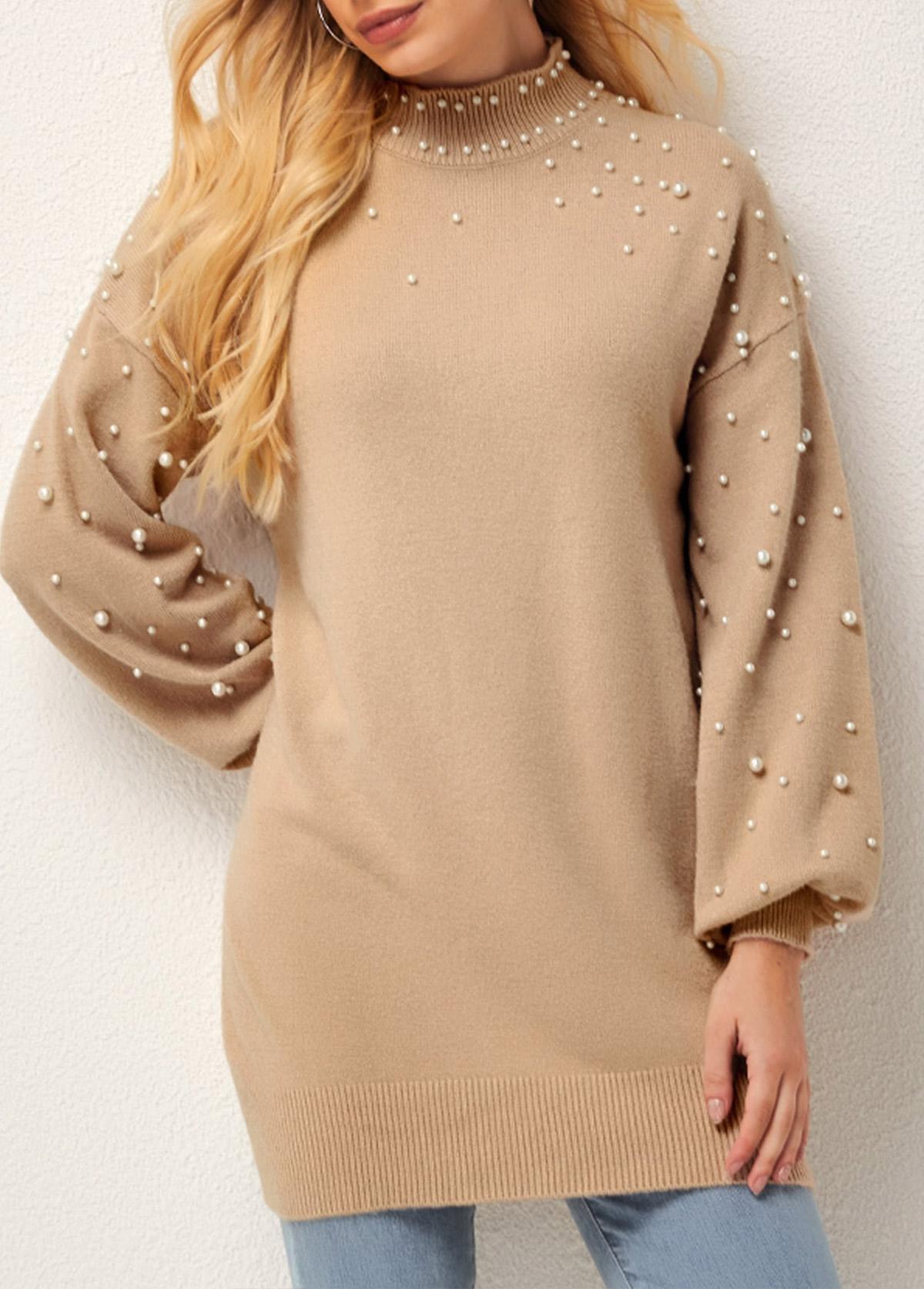 Solid Beaded Mock Neck Long Sleeve Sweater