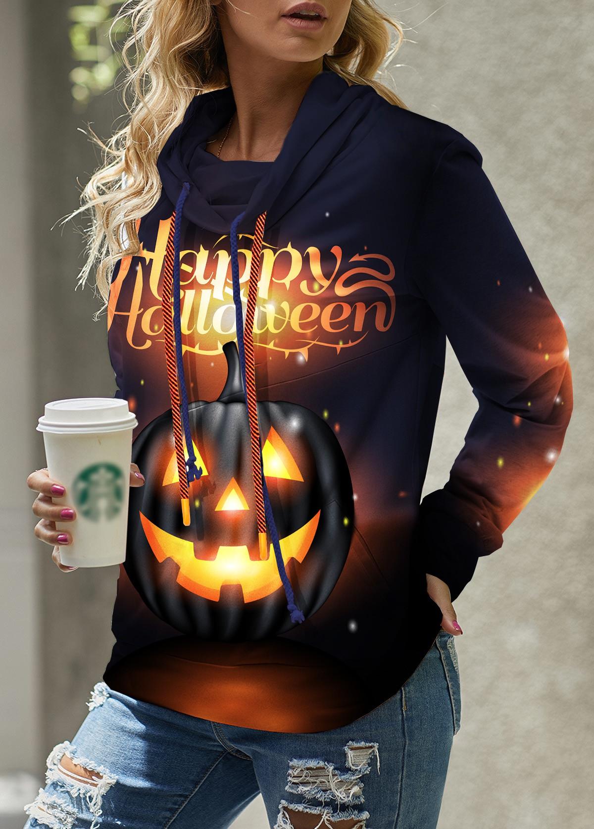 ROTITA Halloween Pumpkin Print Long Sleeve Sweatshirt