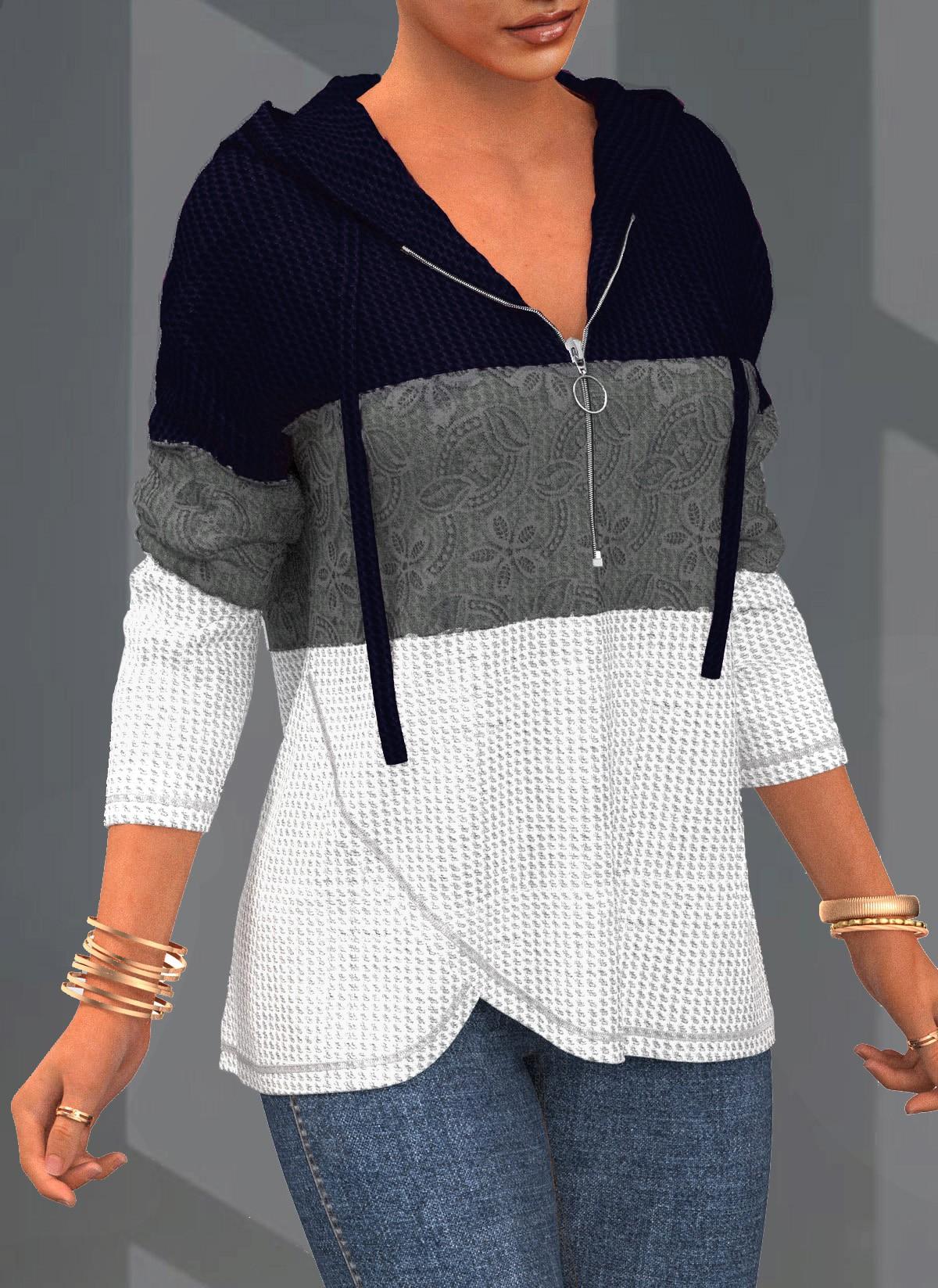 ROTITA Quarter Zip Contrast Lace Stitching Hoodie
