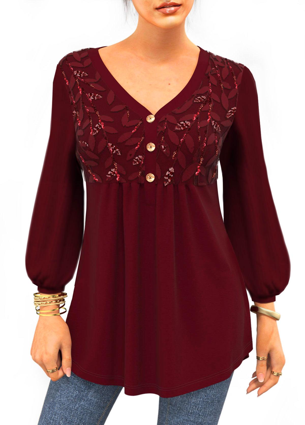 ROTITA Lantern Sleeve Leaf Sequin V Neck T Shirt