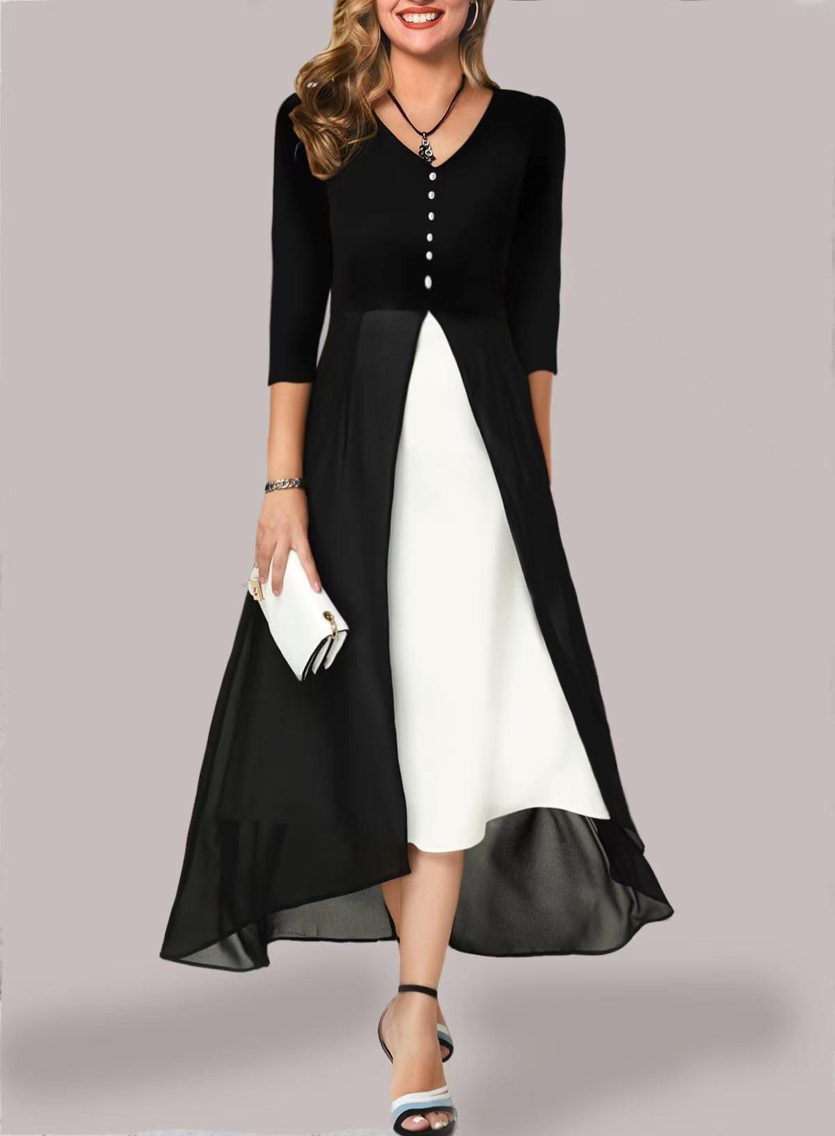 ROTITA Decorative Button Chiffon 3/4 Sleeve Dress