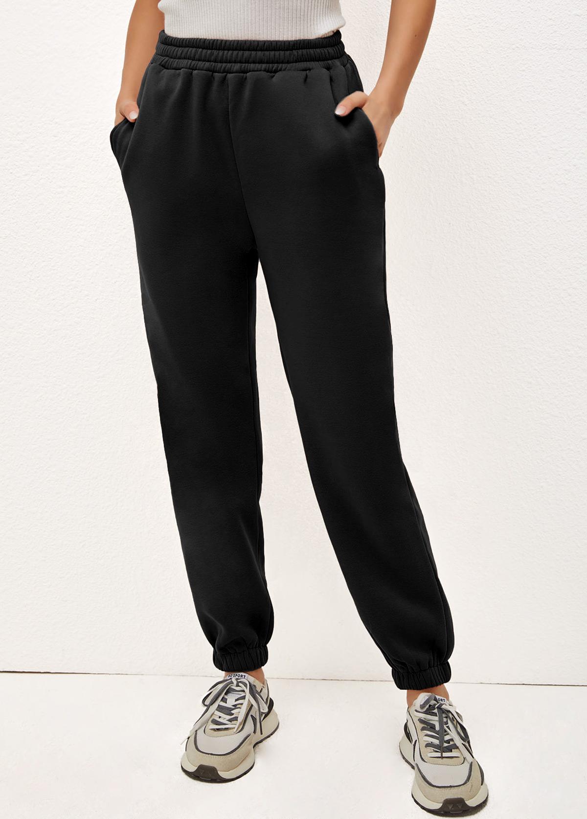 ROTITA Elastic Waist Solid Double Side Pockets Pants