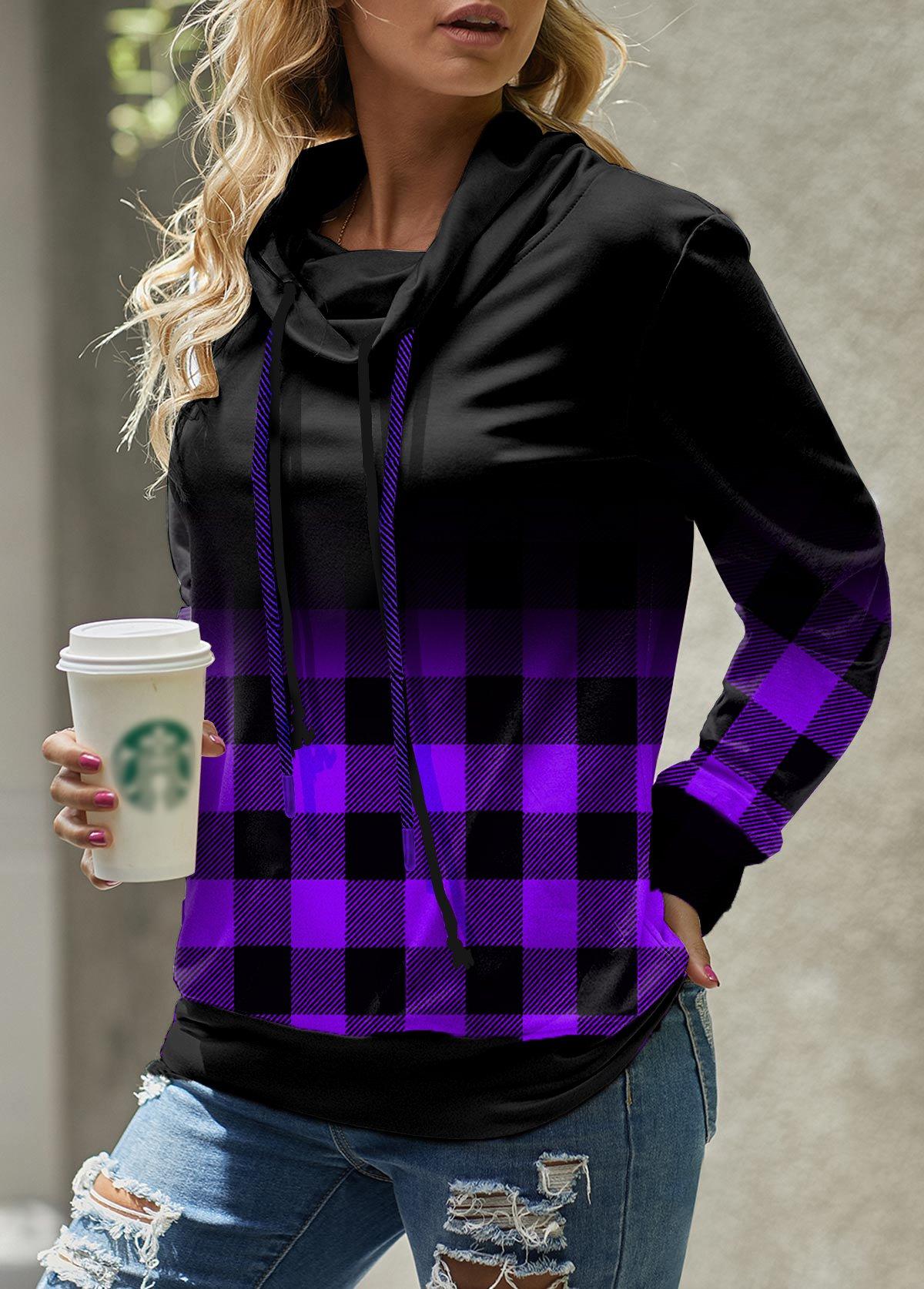 ROTITA Plaid Ombre Cowl Neck Long Sleeve Sweatshirt