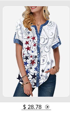 Button Up Split Neck Star Print Blouse