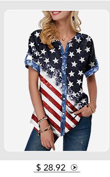 Button Up Flag Print Short Sleeve T Shirt