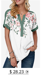 Notch Neck Floral Print Contrast Piping Blouse