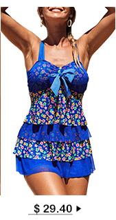 Floral Print Layered Hem Bowknot Embellished Swimdress and Shorts