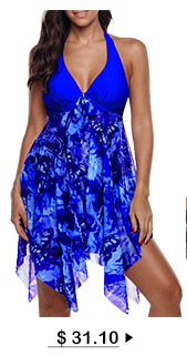 Halter Royal Blue Asymmetric Hem Swimdress and Panty