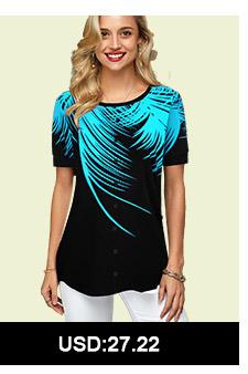 Round Neck Palm Leaf Print T Shirt