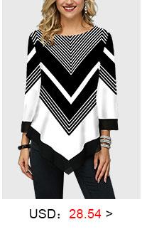 Chevron Print Three Quarter Sleeve Asymmetric Hem T Shirt