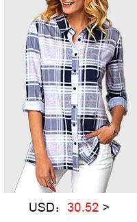 Plaid Print Turndown Collar Button Front Blouse