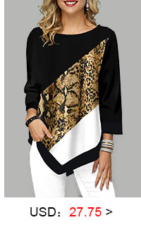 Printed Asymmetric Hem Three Quarter Sleeve T Shirt