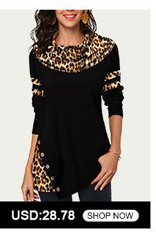 Leopard Print Long Sleeve Button Detail T Shirt