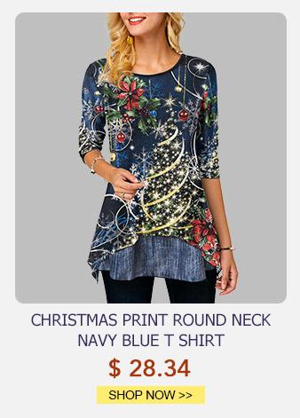 Christmas Print Round Neck Navy Blue T Shirt