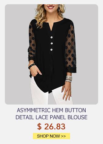 Asymmetric Hem Button Detail Lace Panel Blouse
