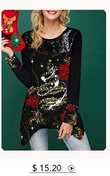 Christmas Print Asymmetric Hem Black T Shirt