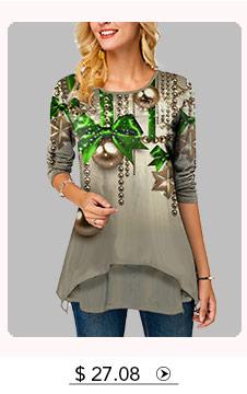 Long Sleeve Christmas Print Round Neck T Shirt