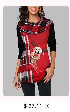 Long Sleeve Christmas Elk and Plaid Print T Shirt