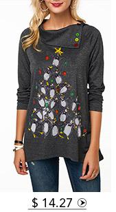 Button Embellished Penguin Print Long Sleeve Christmas T Shirt