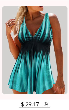 Double Strap Psychedelic Print Ring V Neck Open Back Printed Swimdress and Panty