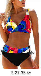 Printed Lace Up Drawstring Waist Bikini Set