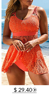Lace Panel Orange Asymmetric Hem Lingerie Swimdress and Panty