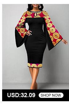 Tribal Print Keyhole Neckline Flare Sleeve Dress