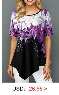 Asymmetric Hem Round Neck Floral Print Blouse
