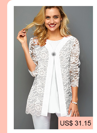 Faux Two Piece White Decorated Button Lace T Shirt